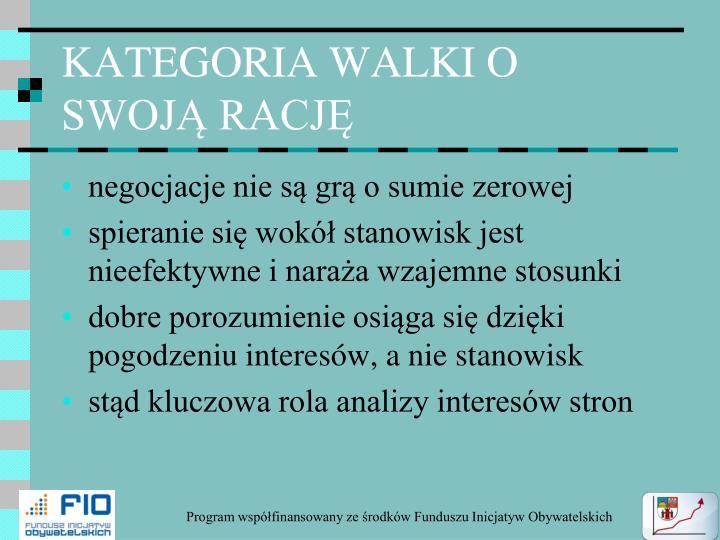 KATEGORIA WALKI O SWOJĄ RACJĘ