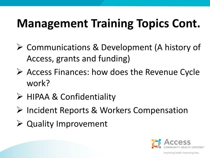 Management Training Topics Cont.