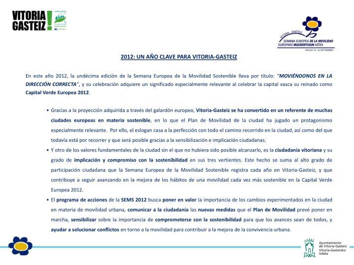 2012: UN AÑO CLAVE PARA VITORIA-GASTEIZ