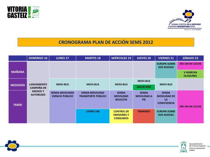 CRONOGRAMA PLAN DE ACCIÓN SEMS 2012