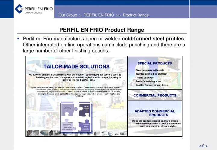 Our Group  >  PERFIL EN FRIO  >>  Product Range