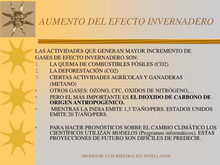 AUMENTO DEL EFECTO INVERNADERO
