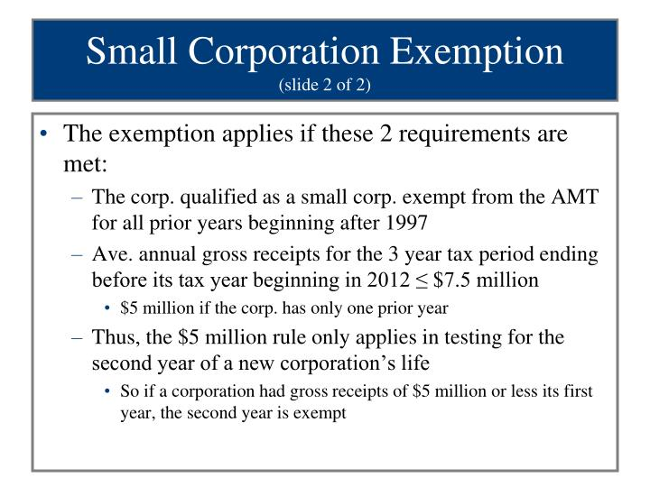 Small Corporation Exemption