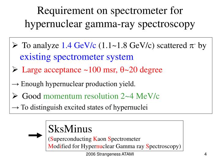 Requirement on spectrometer for