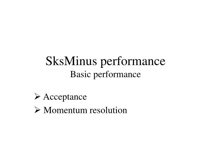 SksMinus performance