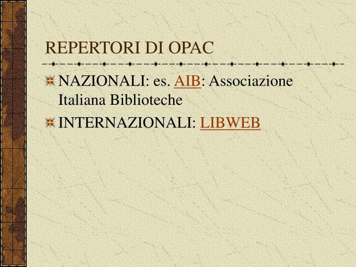 REPERTORI DI OPAC