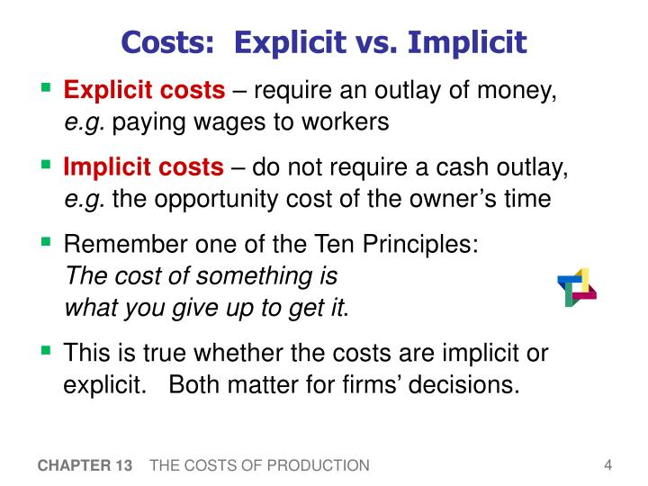 Costs:  Explicit vs. Implicit