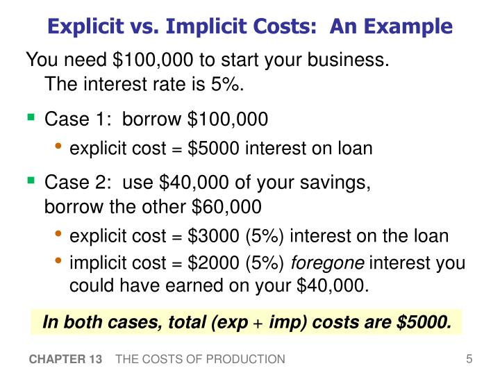Explicit vs. Implicit Costs:  An Example