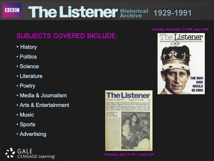 Thursday, November 10 1988, Issue 3088