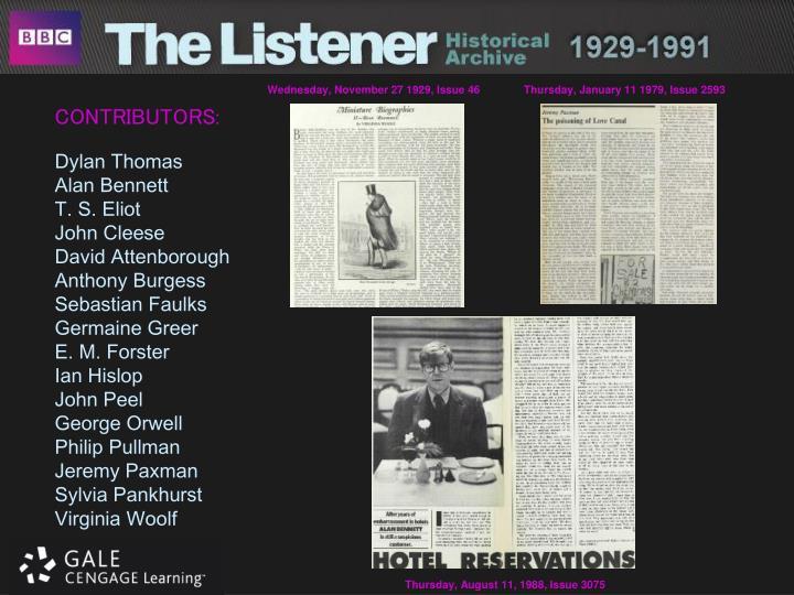 Wednesday, November 27 1929, Issue 46