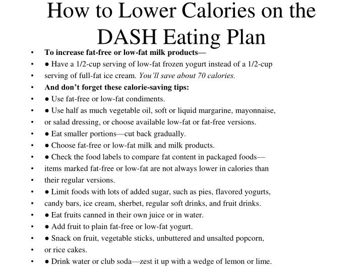 How to Lower Calories on the DASH Eating Plan