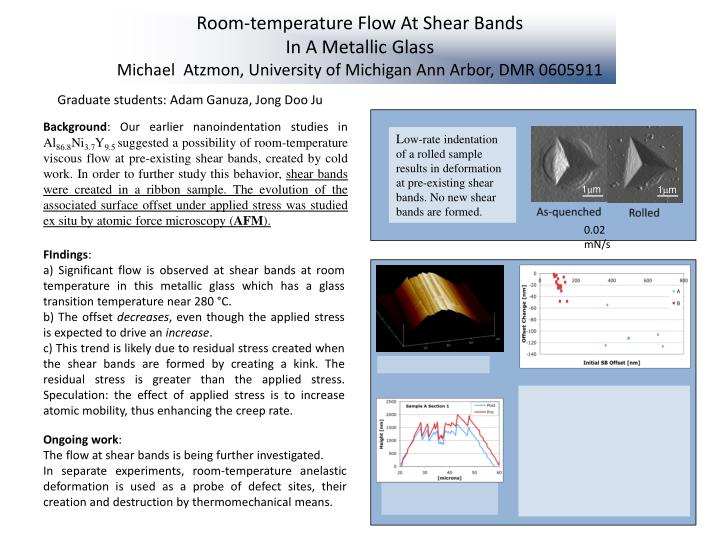 Room-temperature Flow At Shear Bands