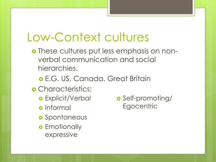 Low-Context cultures