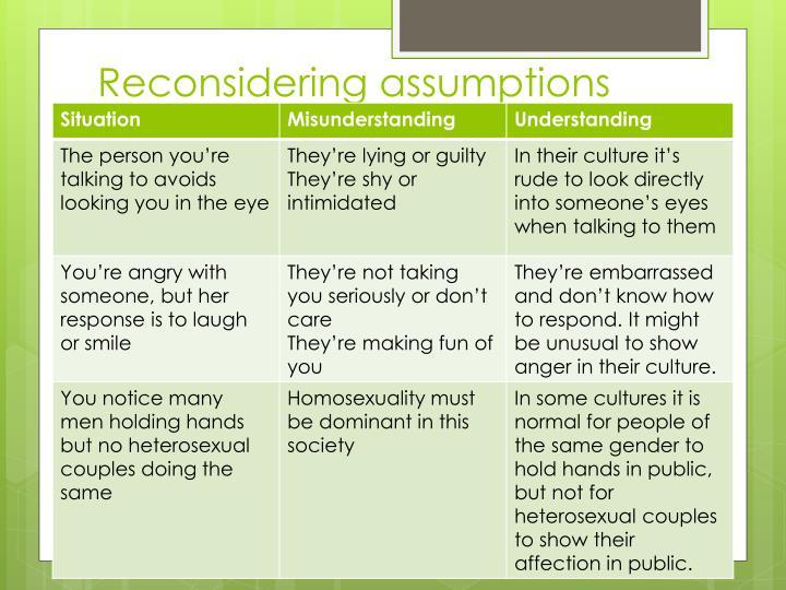 Reconsidering assumptions