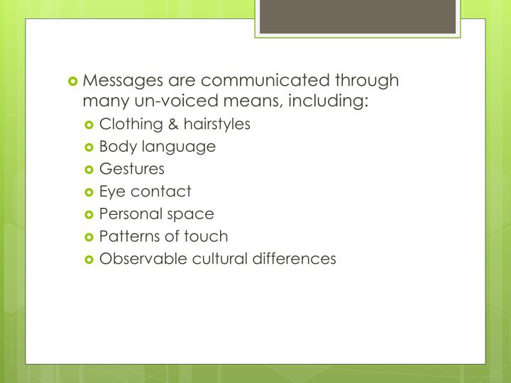 Messages are communicated through many un-voiced means, including:
