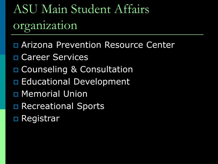 ASU Main Student Affairs organization