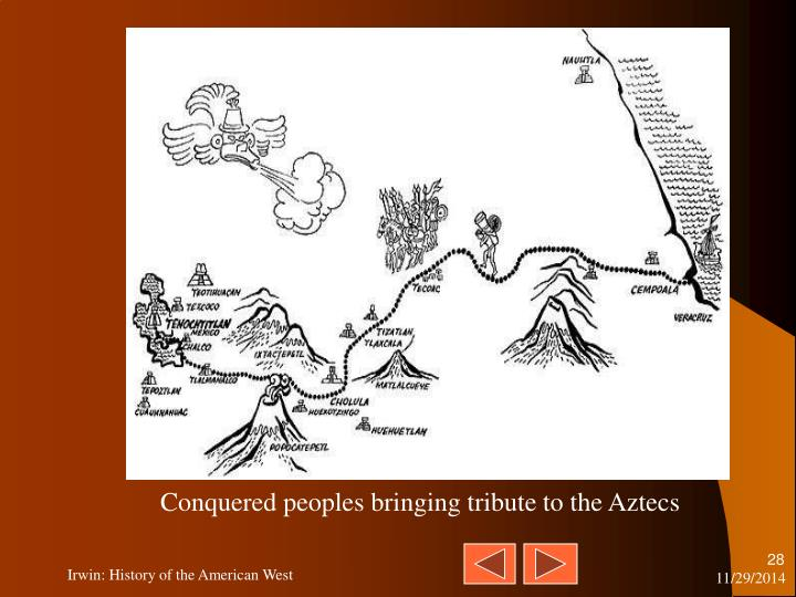 Conquered peoples bringing tribute to the Aztecs