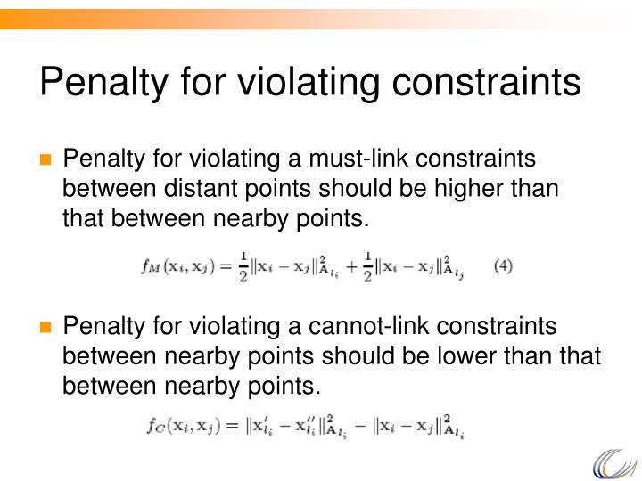 Penalty for violating constraints