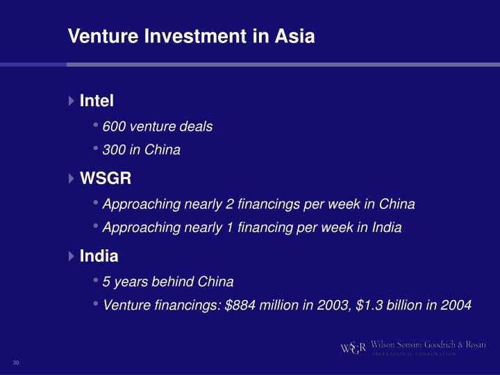 Venture Investment in Asia