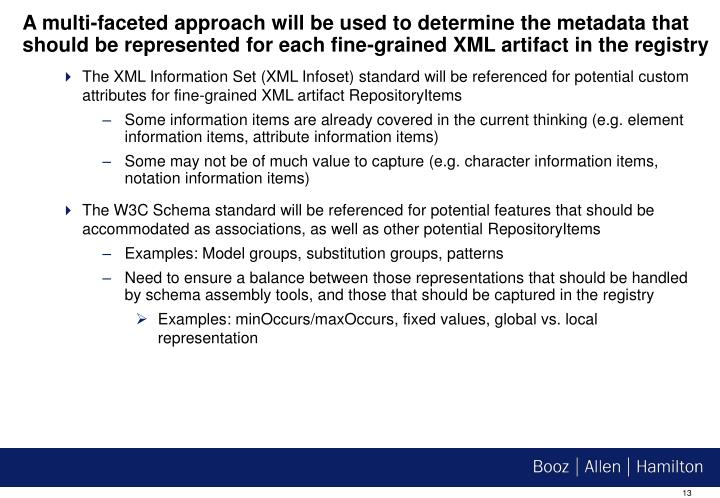 A multi-faceted approach will be used to determine the metadata that should be represented for each fine-grained XML artifact in the registry
