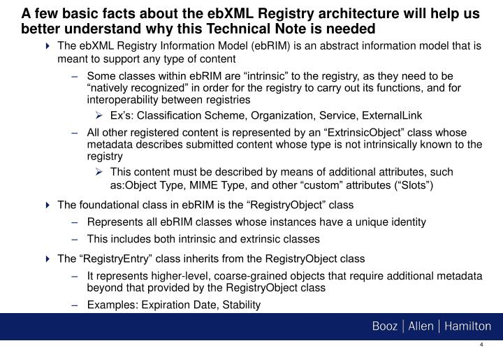 A few basic facts about the ebXML Registry architecture will help us better understand why this Technical Note is needed