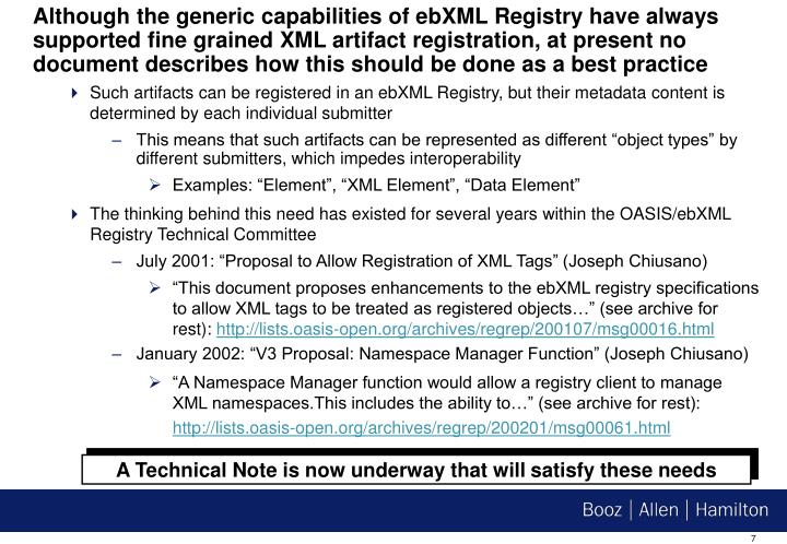 Although the generic capabilities of ebXML Registry have always supported fine grained XML artifact registration, at present no document describes how this should be done as a best practice