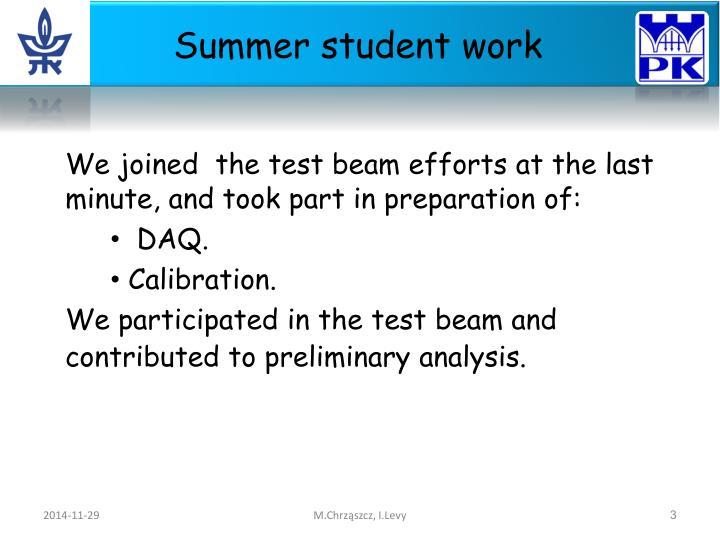 Summer student work