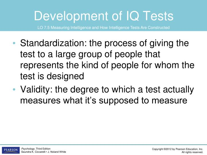 Development of IQ Tests