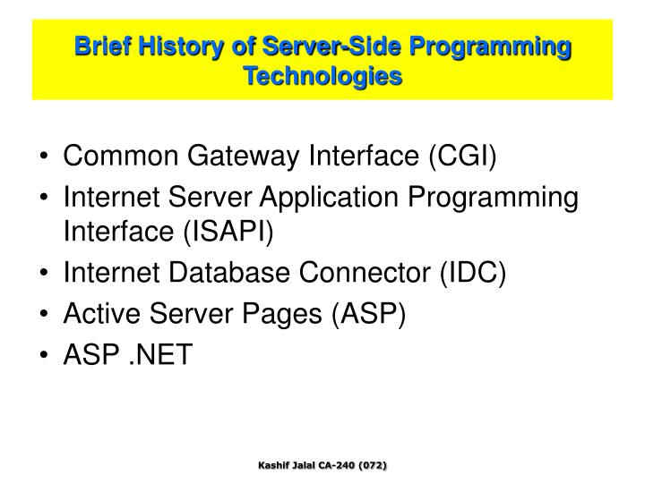 Brief History of Server-Side Programming Technologies