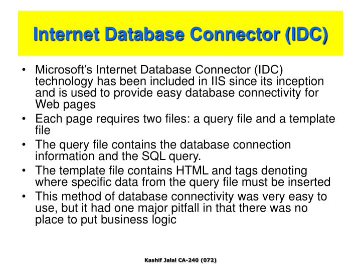 Internet Database Connector (IDC)