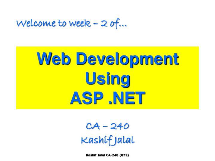 Web development using asp net