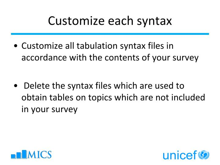 Customize each syntax