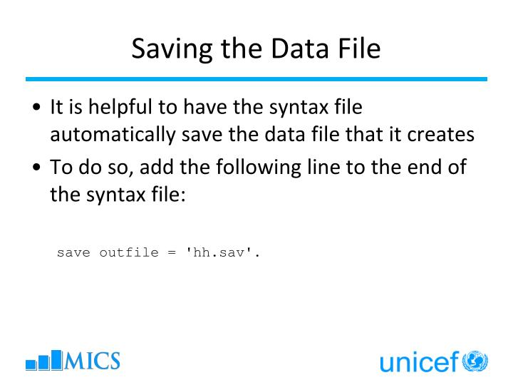 Saving the Data File