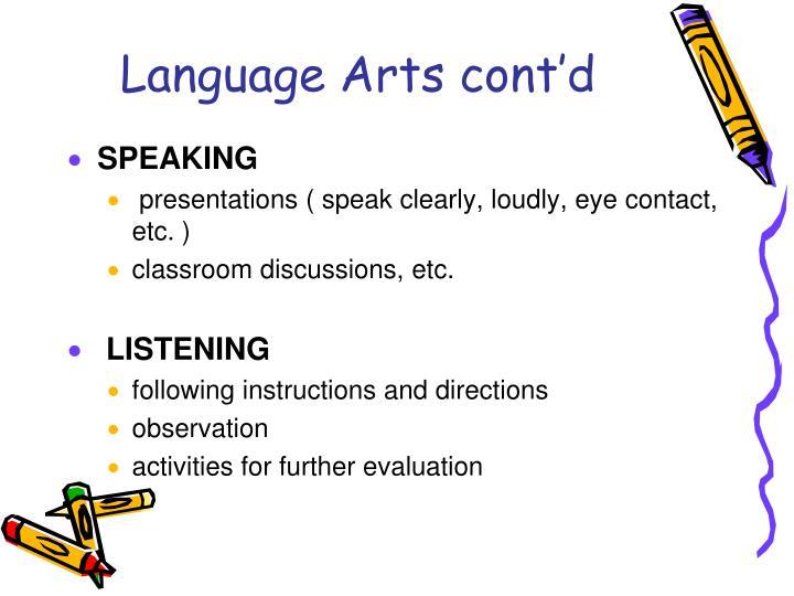 Language Arts cont'd