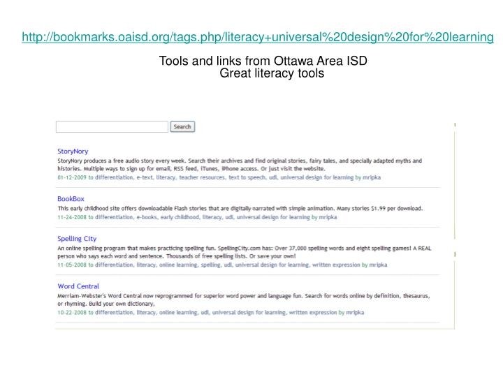 http://bookmarks.oaisd.org/tags.php/literacy+universal%20design%20for%20learning