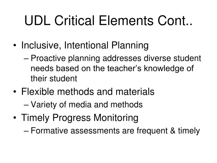 UDL Critical Elements Cont..