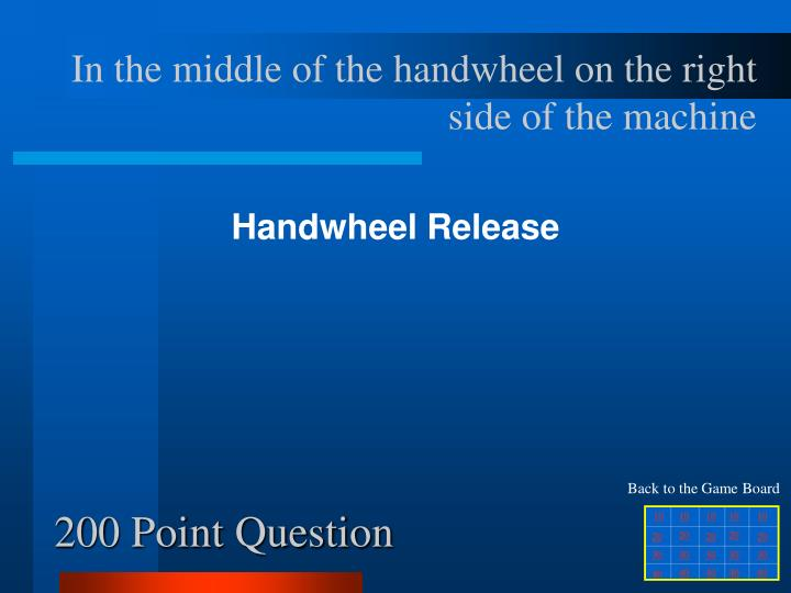 In the middle of the handwheel on the right side of the machine
