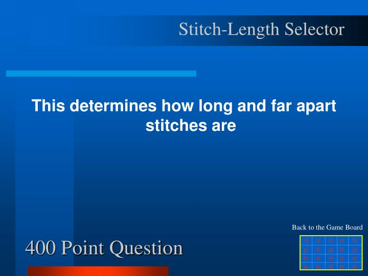 Stitch-Length Selector