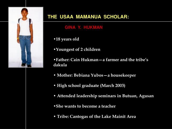 THE  USAA  MAMANUA  SCHOLAR: