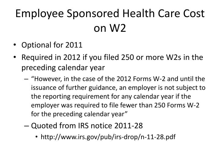 Employee sponsored health care cost on w2