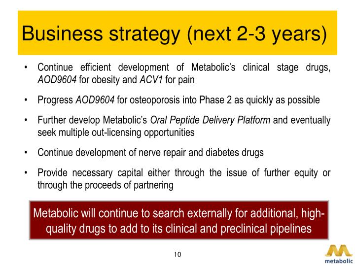 Business strategy (next 2-3 years)