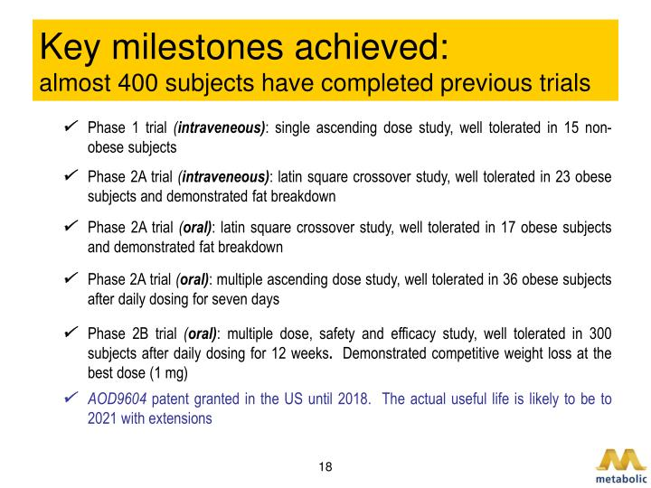 Key milestones achieved: