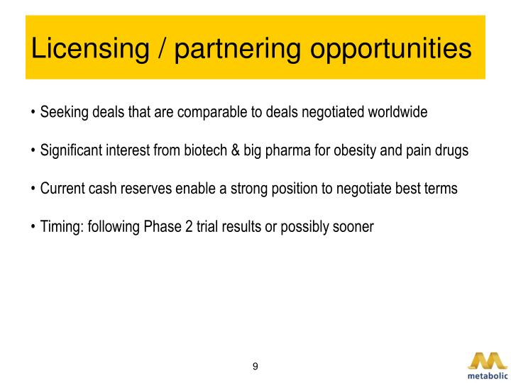 Licensing / partnering opportunities