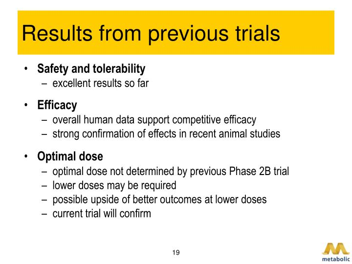 Results from previous trials