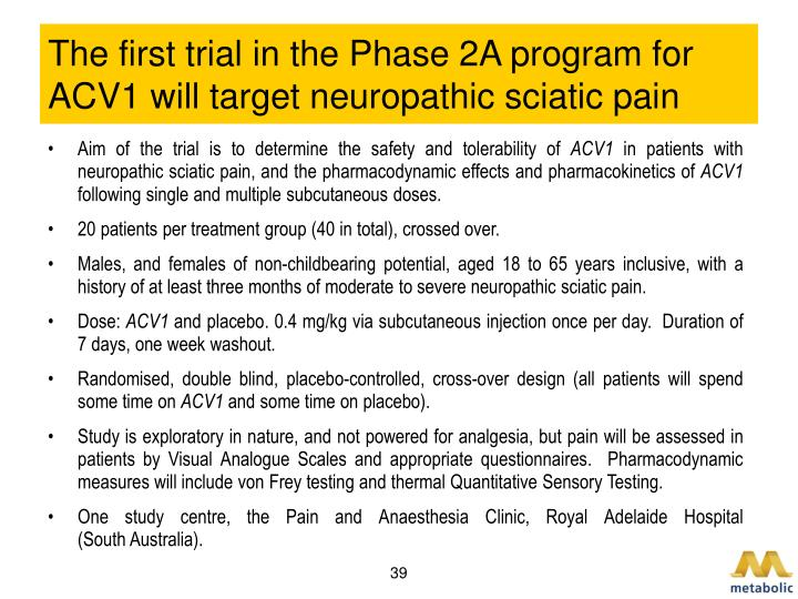 The first trial in the Phase 2A program for ACV1 will target neuropathic sciatic pain