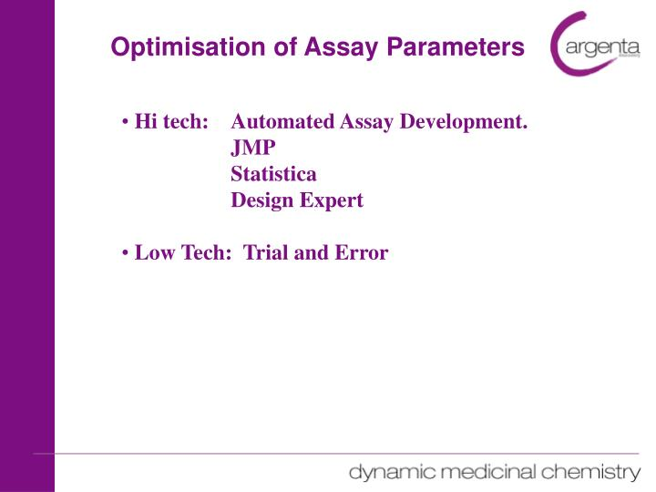 Optimisation of Assay Parameters