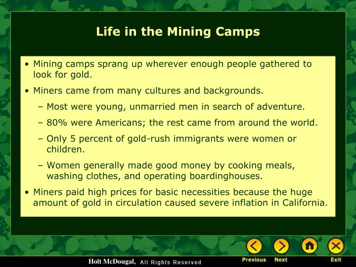 Mining camps sprang up wherever enough people gathered to look for gold.
