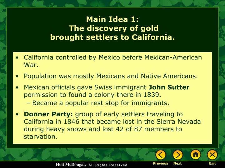 California controlled by Mexico before Mexican-American War.
