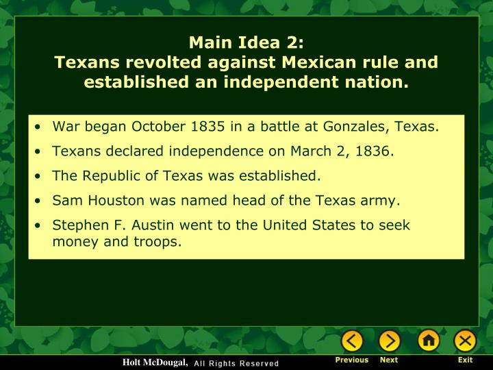 War began October 1835 in a battle at Gonzales, Texas.