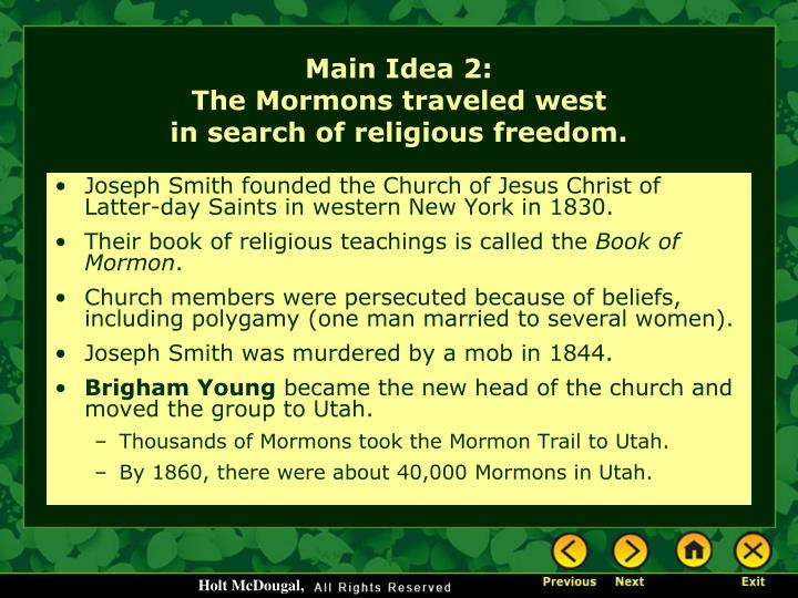 Joseph Smith founded the Church of Jesus Christ of Latter-day Saints in western New York in 1830.
